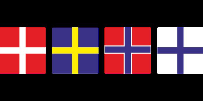 Flagi czterech krajów skandynawskich