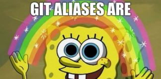 SpongeBob z tęczą i napisem