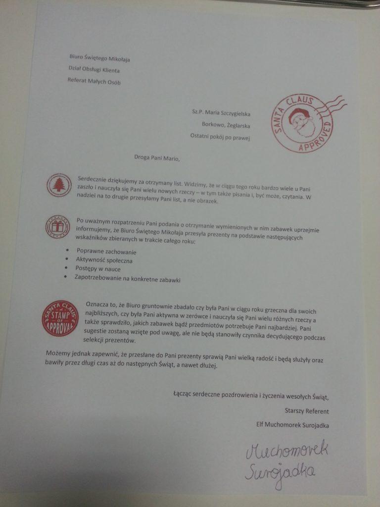 List of świętego Mikołaja - treść