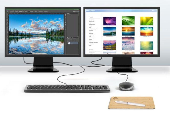 Dwa monitory na biurku
